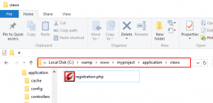 Creating View file in CodeIgniter