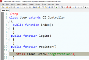 Loading a View file to controller in CodeIgniter