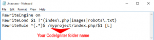 htaccess setup to remove index.php in codeIgniter url