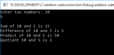 C Program to Addition, subtraction, multiplication, division