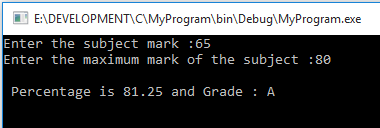 C Program Find Percentage and Grade of the Mark
