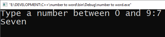 Input a number and display Corresponding word in C++