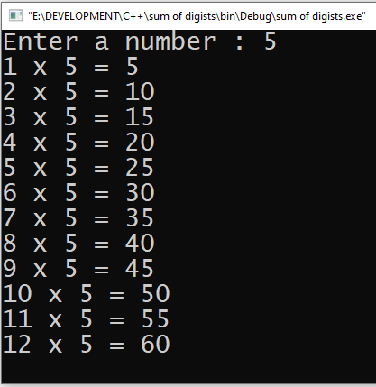Multiplication table of any number of 12 row in C++