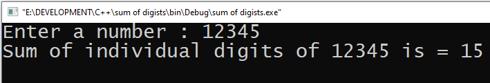 Sum of individual digits of a given number output