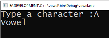 Check Whether the Given Character is a Vowel or Consonant in C++