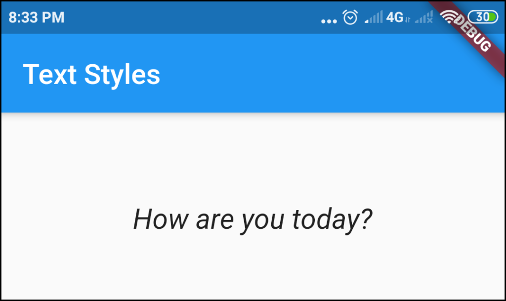 Italic style for font text in flutter