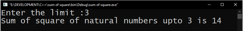 Sum of square of N natural numbers in c+++