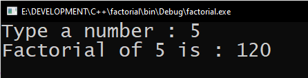 Factorial of a number in C++