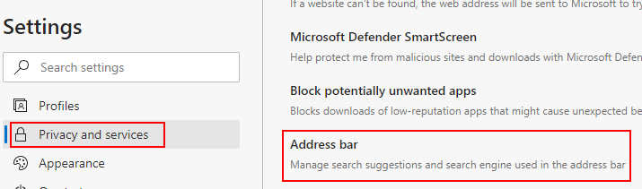 Edge Privacy and services, Address bar