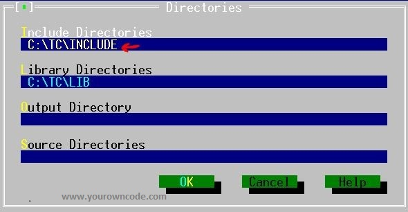 Turbo C include file directories path
