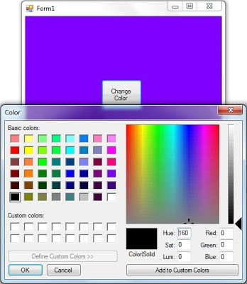 ColorDialog in C# for Changing Background Color