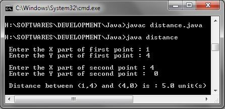 Java Distance between Two Points in XY Plane and output