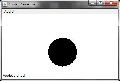 Java Program for Moving Ball with Applet