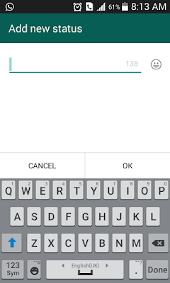 How to set empty blank  WhatsApp Status