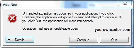 Solve Operation must use an updateable query
