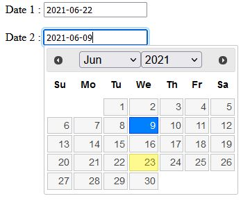 Multiple jQuery datepicker on same page without any error