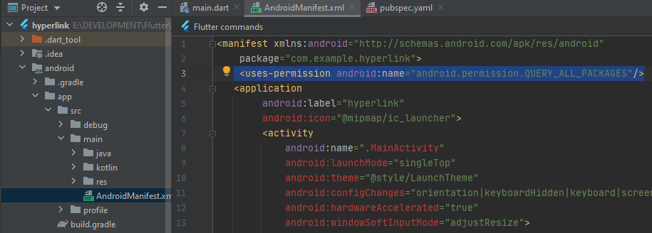 Add query all package permission on android manifest for Flutter