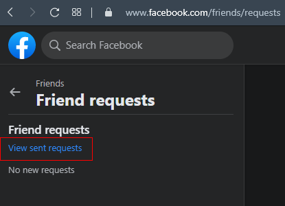 Get and view sent Facebook friend requests